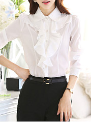 Autumn Spring  Polyester  Women  Turn Down Collar  Plain Blouses