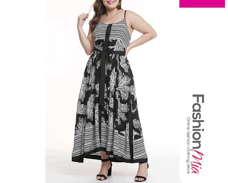 Spaghetti Strap  Contrast Trim Patchwork  Abstract Print Plus Size Midi  Maxi Dress