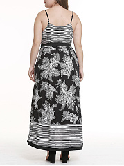 Spaghetti Strap  Contrast Trim Patchwork  Abstract Print Plus Size Midi & Maxi Dress