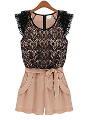 Round Neck Bowknot Decorative Lace Pocket Rompers