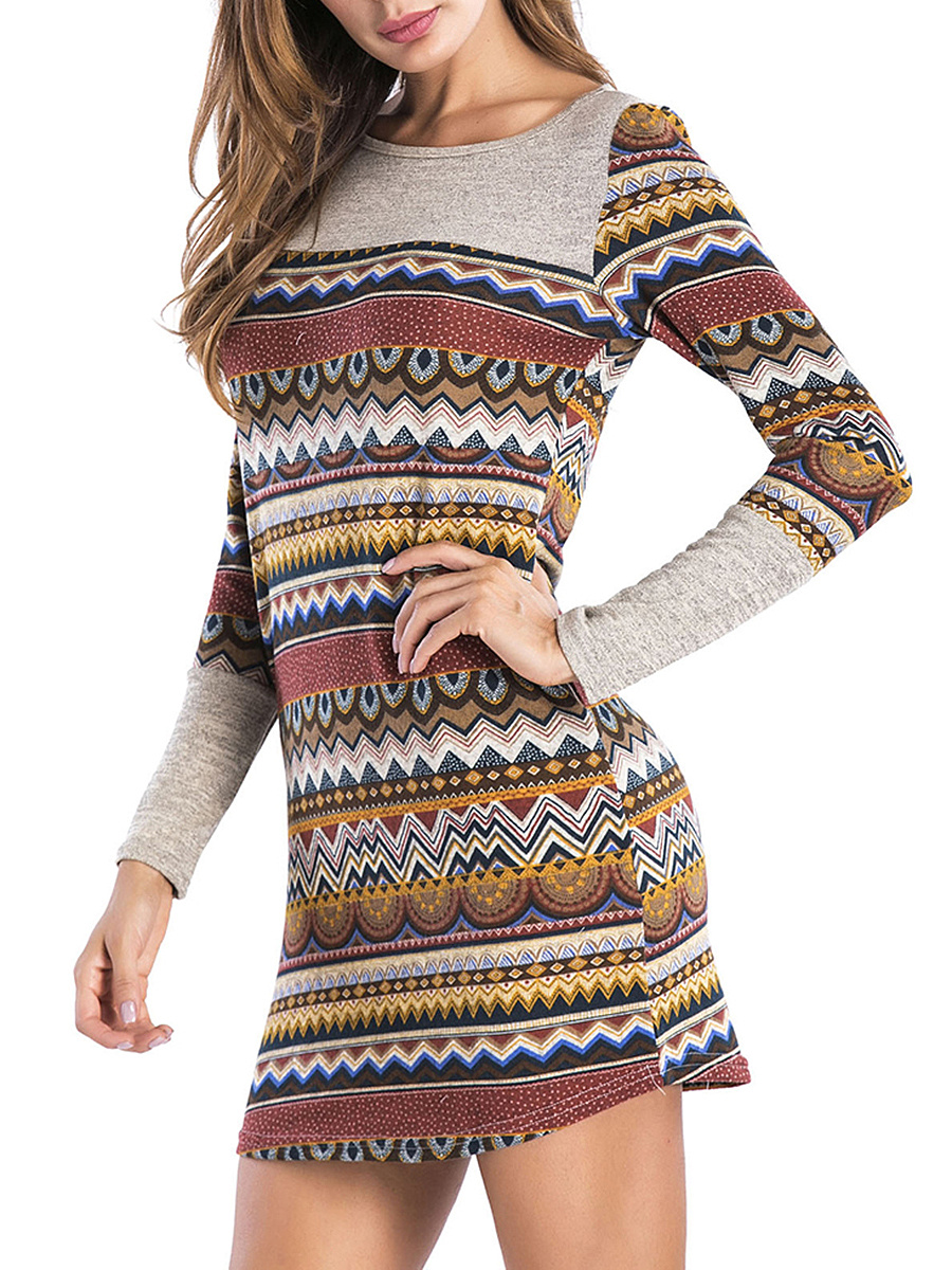 Round Neck  Asymmetric Stripe  Blend Bodycon Dress