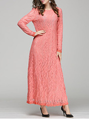 Solid Lace Long Sleeve Round Neck Maxi Dress