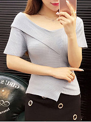 Round Neck  Asymmetric Hem  Plain  Short Sleeve Sweaters Pullover