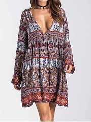 Casual Deep V-Neck Bohemian Tribal Printed Skater Dress