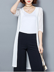 Collarless  Plain  Half Sleeve Cardigans