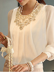 Round Neck  Diamante Patchwork  Plain Blouses