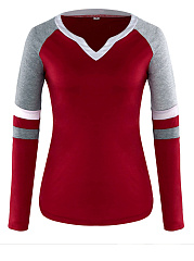Autumn Spring  Women  V-Neck  Contrast Piping  Color Block Long Sleeve T-Shirts