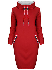 Hooded Striped Pocket Bodycon Dress