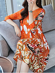 Round Neck  Printed  Polyester Shift Dress
