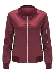 Band-Collar-Flap-Pocket-Zips-Plain-Bomber-Jacket