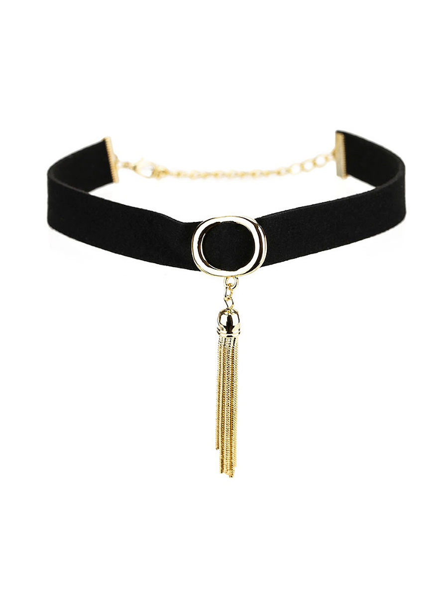 Gold Tassel Black Choker