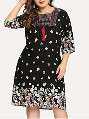 Round Neck  Floral Plus Size Midi  Maxi Dress