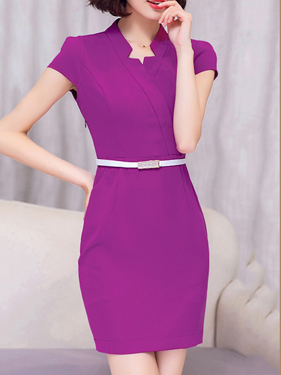 Asymmetric Neck Pocket Belt Plain Bodycon Dress