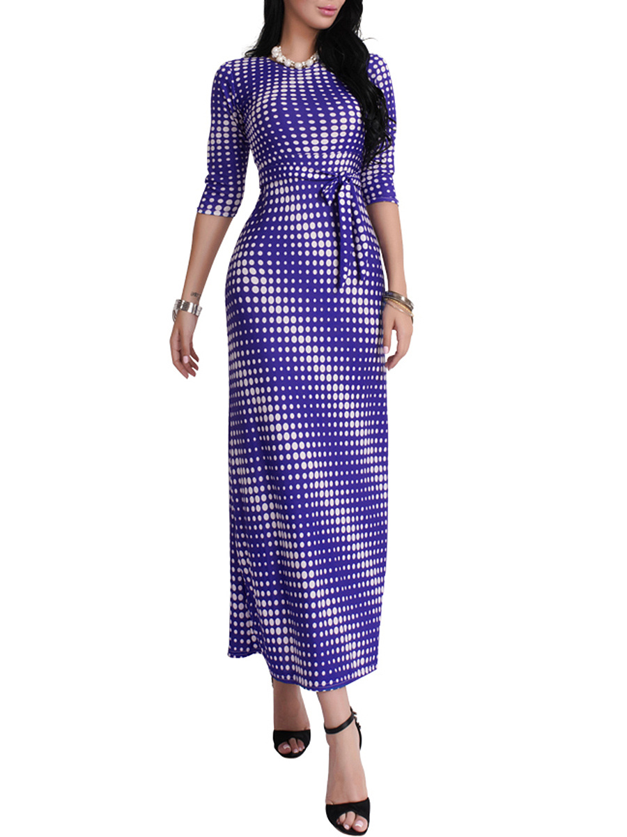 Modern Round Neck Polka Dot Maxi Dress