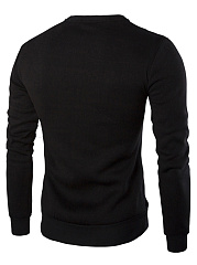 Round Neck  Patchwork Zips  Plain  Long Sleeve Men Sweatshirt