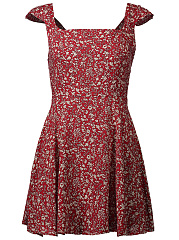 Square Neck  Smocked Bodice  Printed Mini Skater Dress