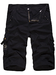 Flap Pocket  Plain  Straight Cargo  Shorts