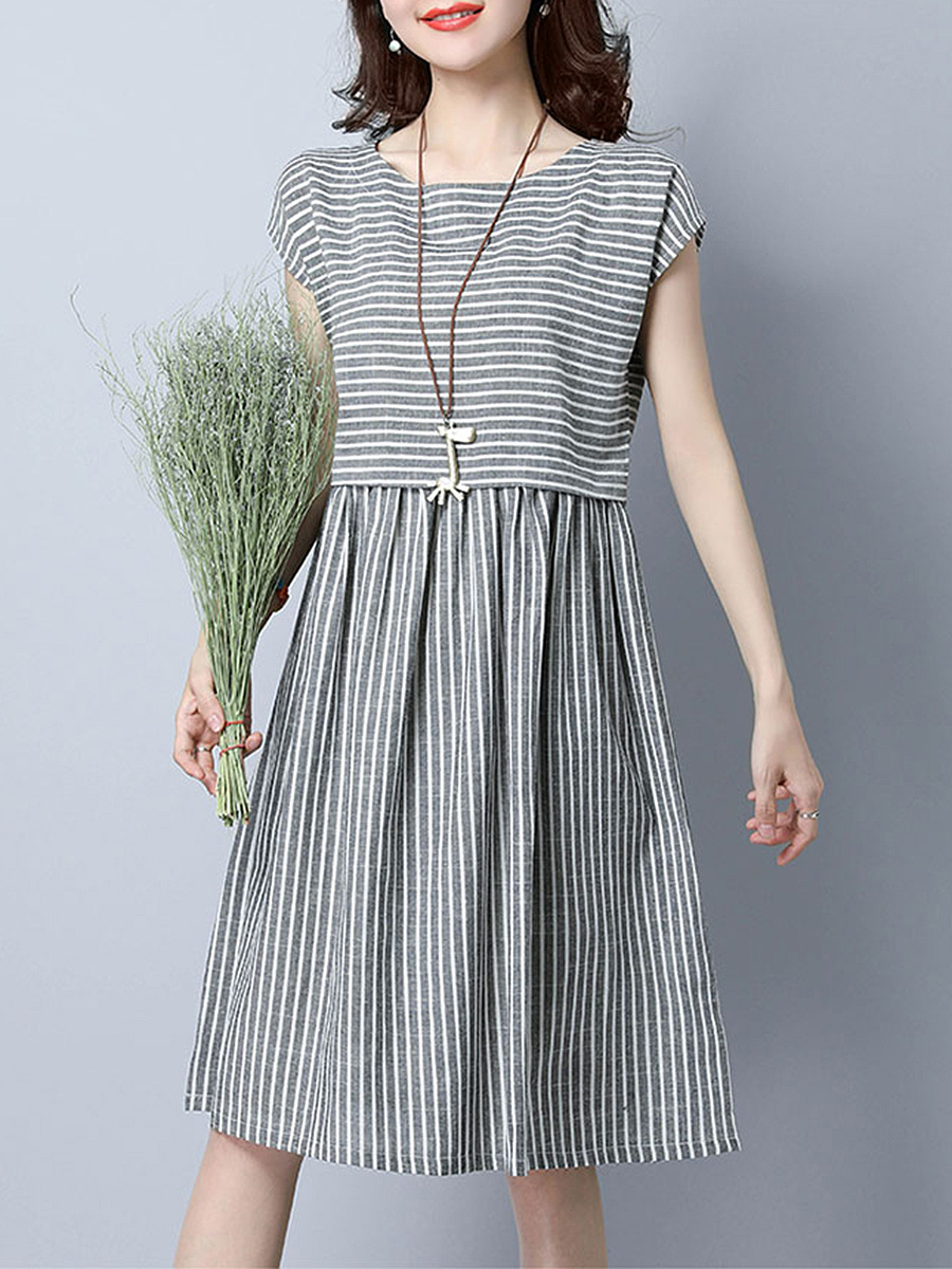 Round Neck  Striped  Cotton/Linen Skater Dress