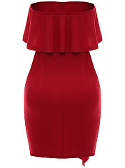 Strapless Flounce Cascading Ruffles Plain Bodycon Dress