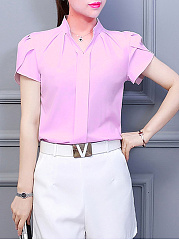 Spring Summer  Polyester  Women  V-Neck  Plain  Short Sleeve Blouses