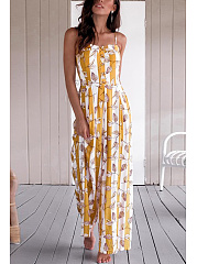 Sexy Fashion Floral Print Wide Leg Jumpsuit