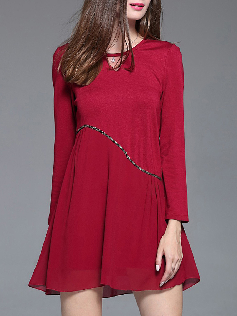 Round Neck Keyhole Mini Shift Dress