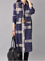 Plaid Flap Pocket Curved Hem Midi Shirt Dress