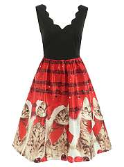 Asymmetric Neck  Cartoon Printed Skater Dress