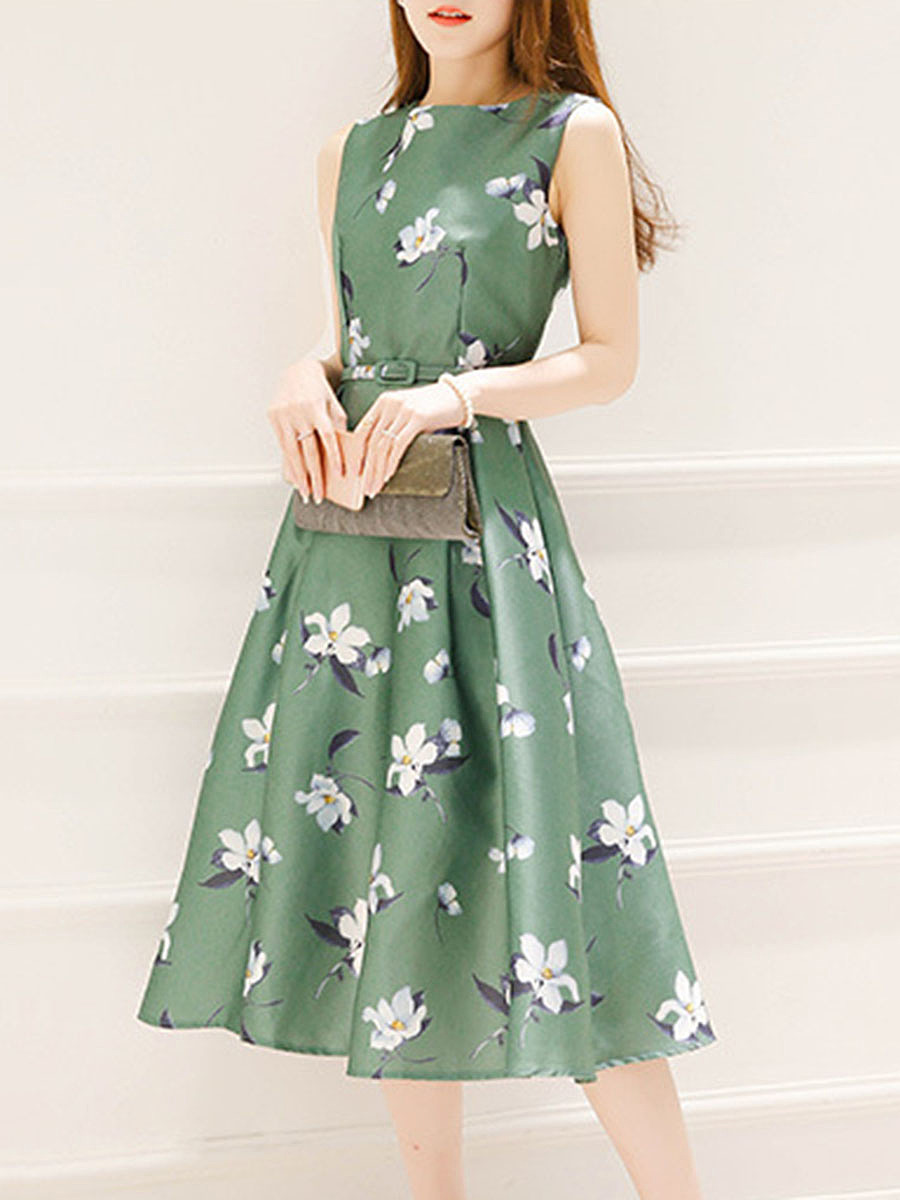 Round Neck Belt Floral Printed Summer Midi Skater Dress