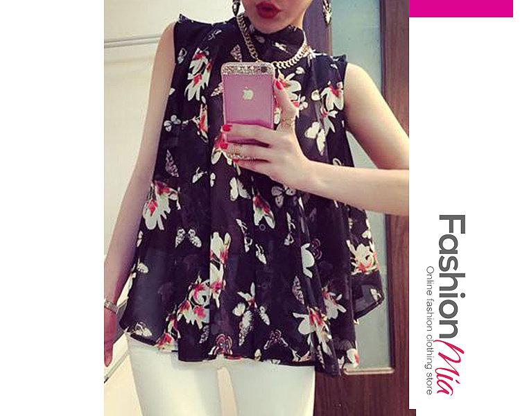 Spring Summer  Chiffon  Women  High Neck  Floral Printed  Sleeveless Blouses