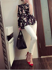 Spring Summer  Chiffon  Women  High Neck  Floral Printed  Sleeveless Blouses