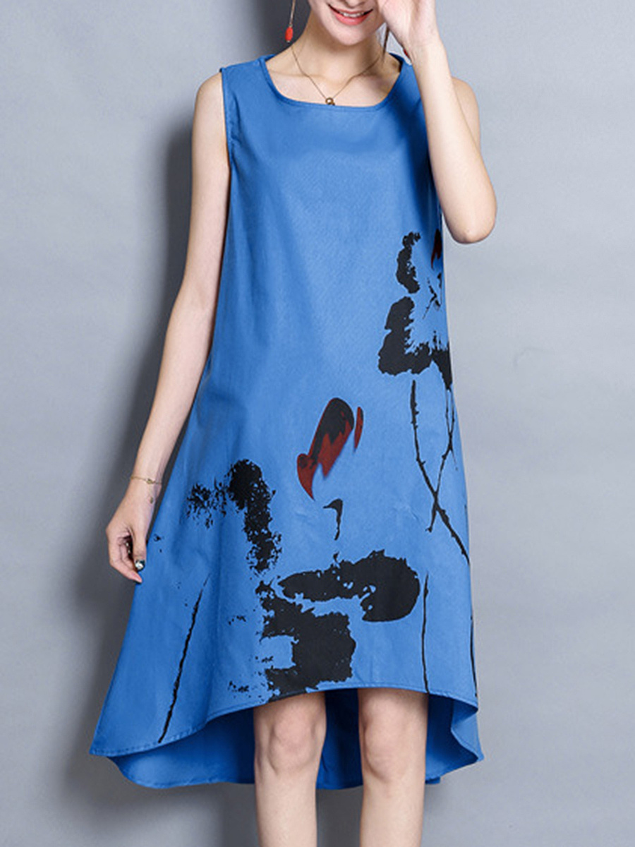 High-Low Round Neck Printed Shift Dress