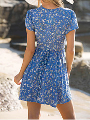 V-Neck Floral Printed Empire Skater Dress