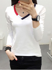 V-Neck  Plain Long Sleeve T-Shirts