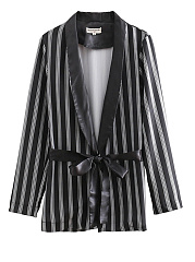Notch Lapel  Belt  Striped  Long Sleeve Blazers