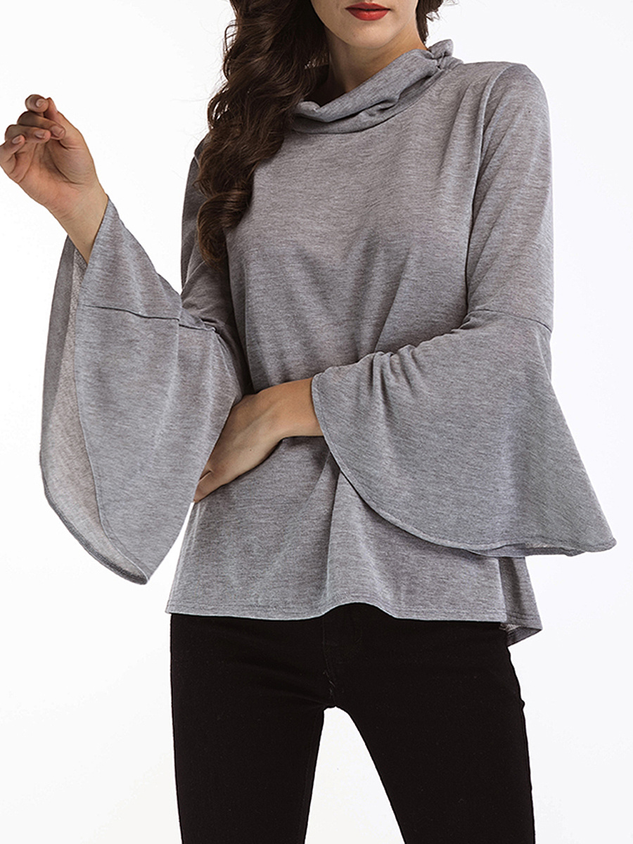 Band Collar Vented Plain Bell Sleeve T-Shirt