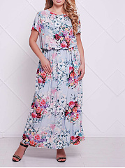 Round Neck  Elastic Waist  Printed Plus Size Midi  Maxi Dress
