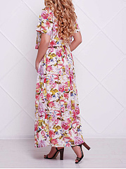 Round Neck  Elastic Waist  Printed Plus Size Midi & Maxi Dress