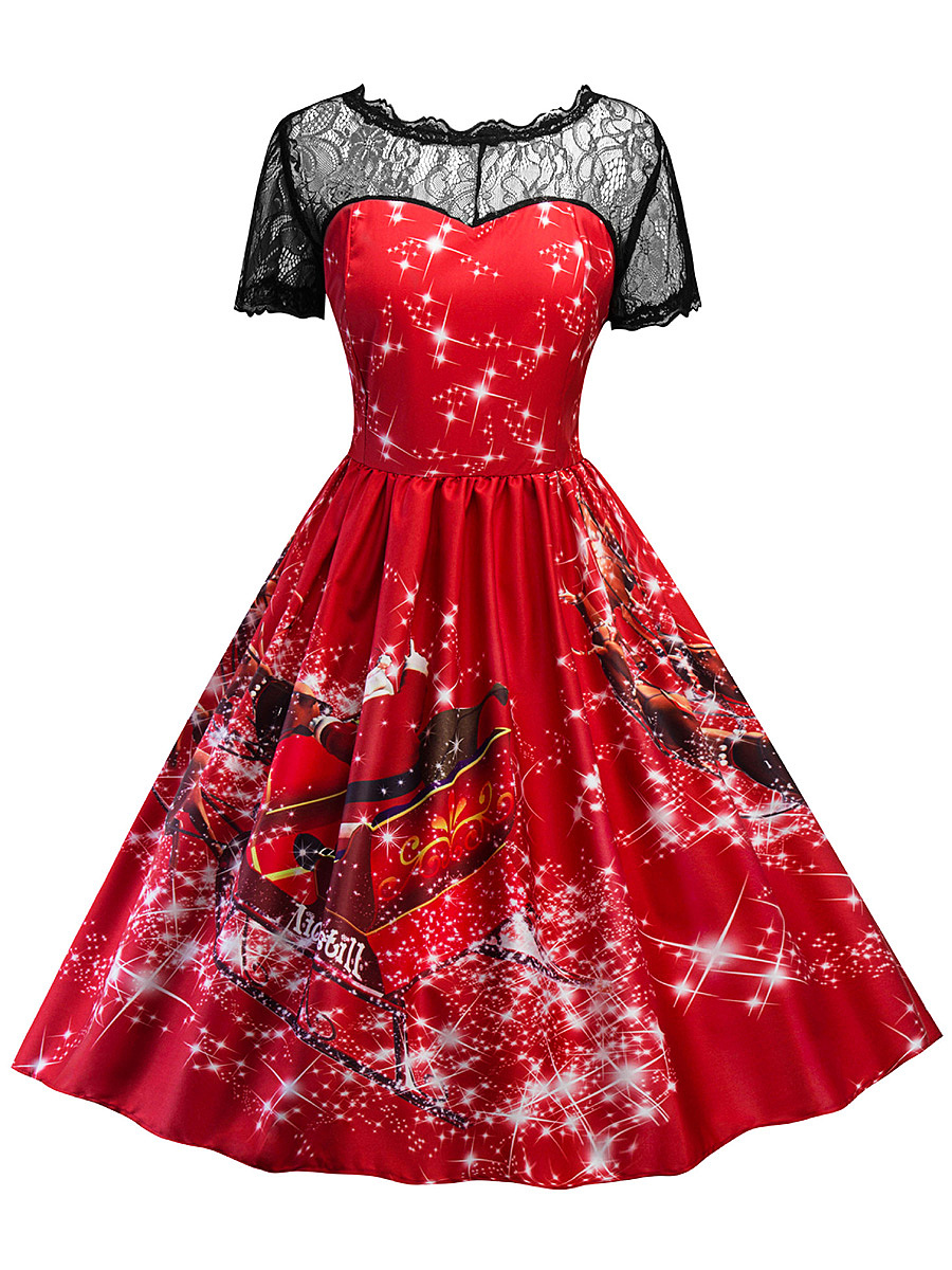 Round Neck Patchwork See-Through Printed Skater Dress
