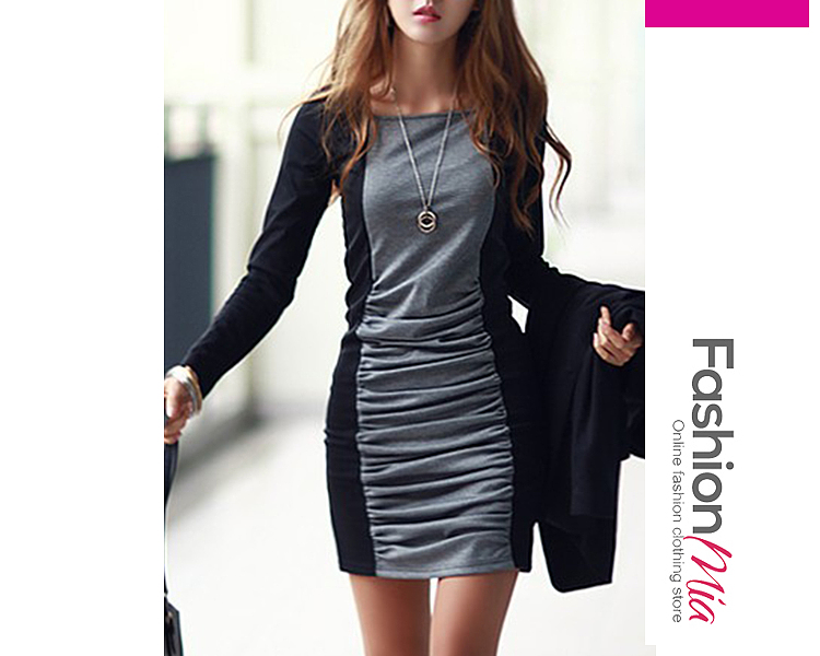 Sexy Color Block Ruched Mini Bodycon Dress 8C21099C3156
