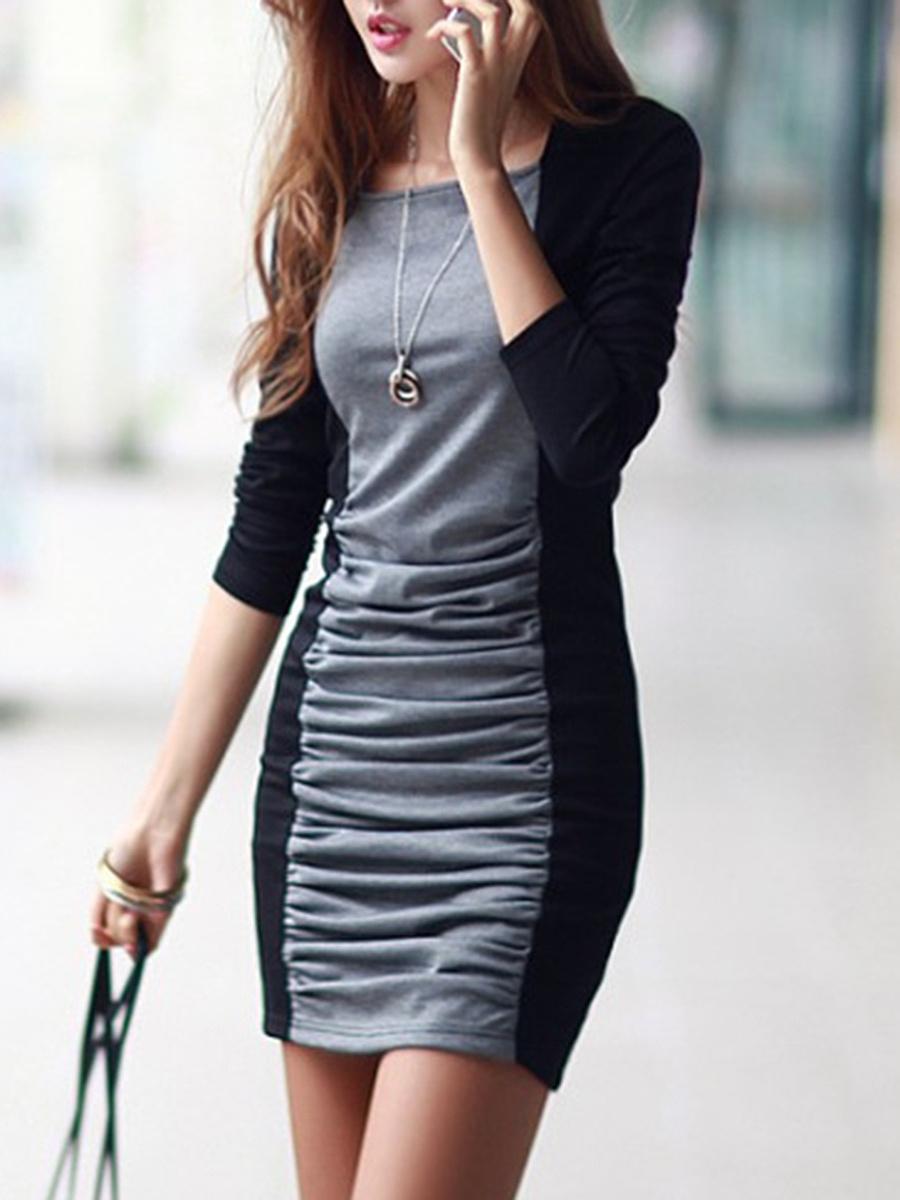 Sexy Color Block Ruched Mini Bodycon Dress