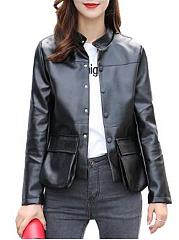 Band-Collar-Flap-Pocket-PU-Leather-Plain-Jacket