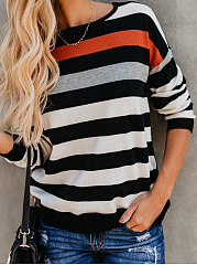 Autumn Spring Winter  Polyester  Women  Round Neck  Color Block Striped Long Sleeve T-Shirts