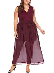 V-Neck  Hollow Out Plain Plus Size Midi & Maxi Dress
