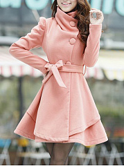 Lapel  Belt  Plain Woolen Swing Coat