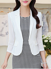 Narrow Notch Lapel  Plain  Three-Quarter Sleeve Blazers