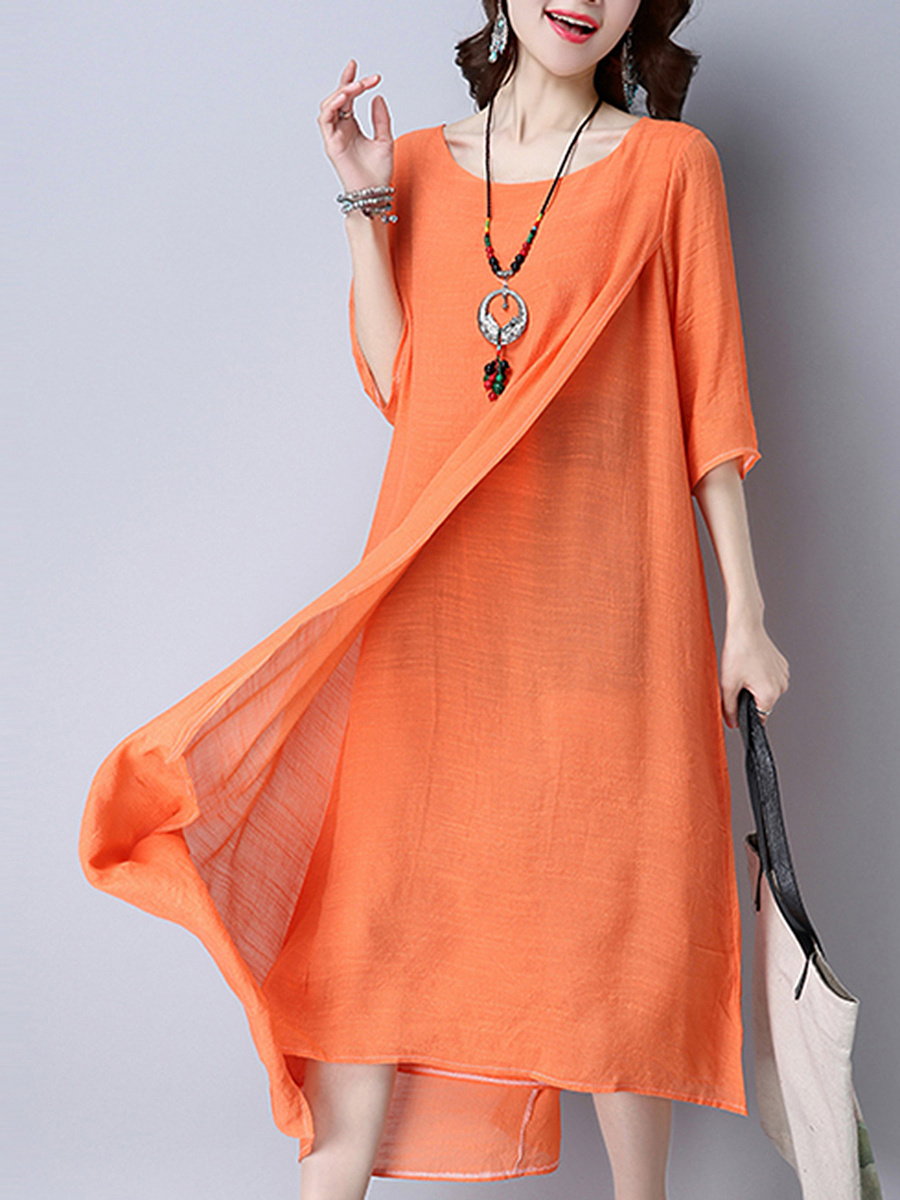Round Neck  Plain Double Layer Maxi Dress