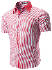 Turn Down Collar  Striped  Short Sleeve Short Sleeves