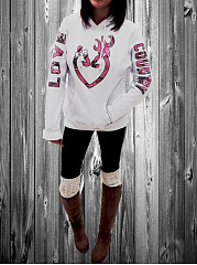 Letters Printed  Long Sleeve Hoodies  Sweatshirts