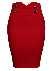 Slit Decorative Button Solid Pencil Midi Skirt In Red